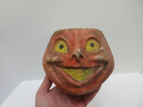 "Vintage Paper Mache Pumpkin Jack O Lantern 5"""