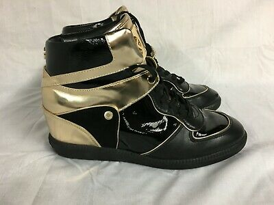 MK MICHAEL KORS NIKKO HIGH TOP SNEAKERS BLACK & GOLD SIZE 9.5