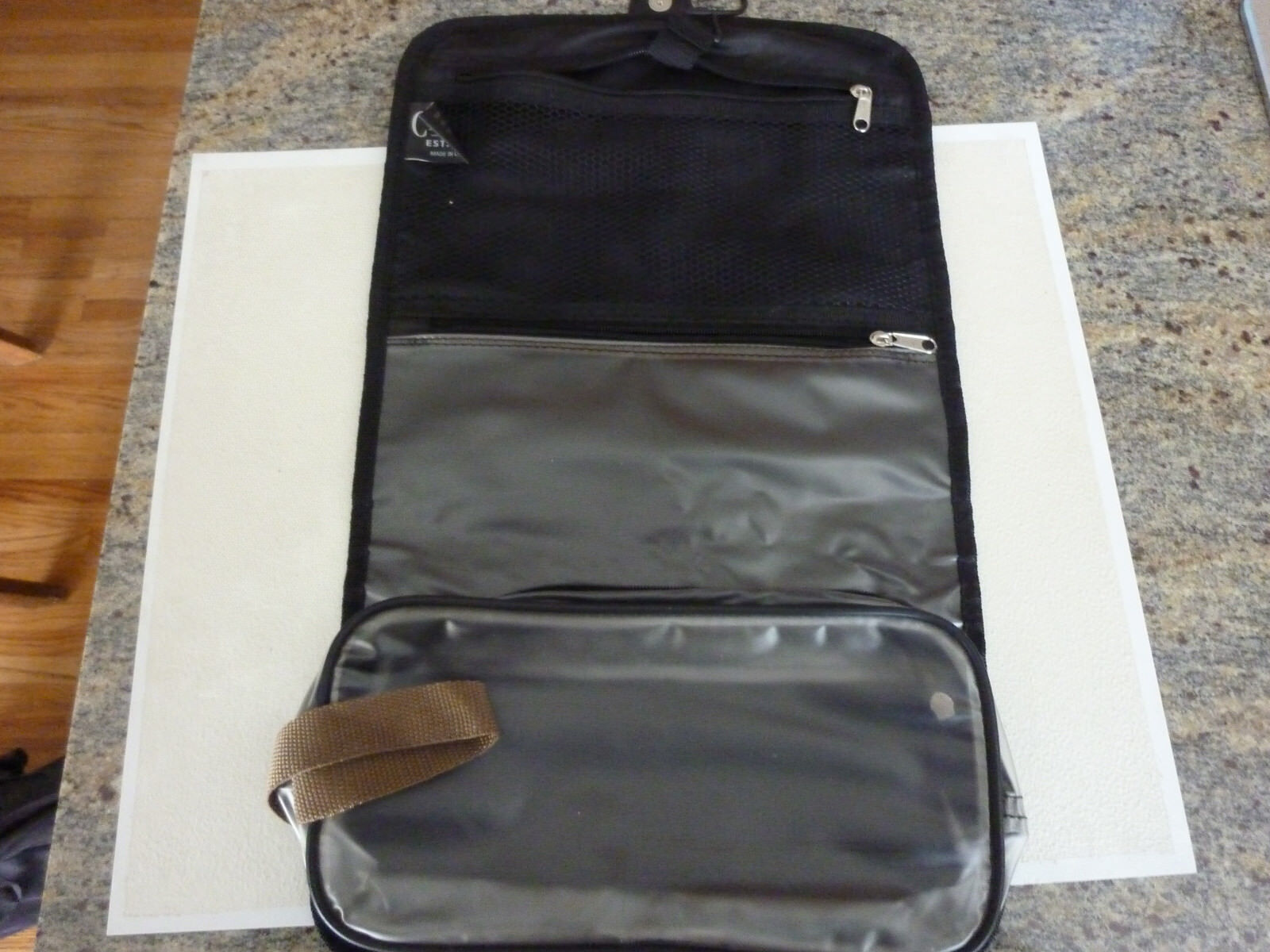 Chaps Black Canvas Hanging Folding Toiletry Travel Bag Case - $8.85