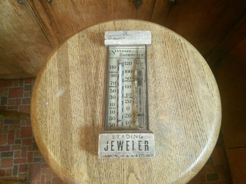 ANTIQUE COTTAGE BAROMETER THERMOMETER /Leading Jeweler