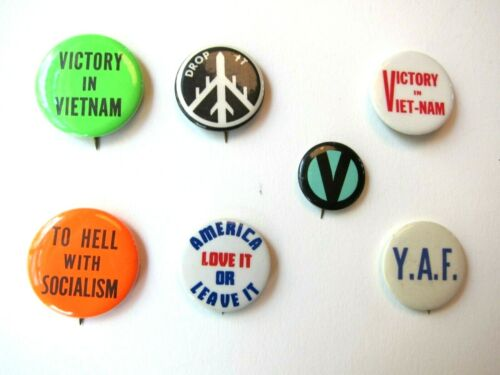 Vintage 1960s Pro-Vietnam War and Conservative Buttons, Lot of 7, Political