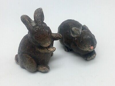2 Vintage Miniature Rabbit Figurines Made in Holland Arts in Stone Products for sale  Shipping to Canada