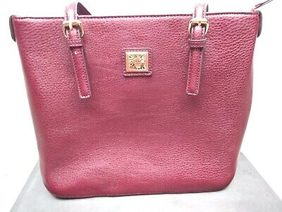 ANNE KLEIN Red Handbag, Purse with Polka dot interior and lion logo front and in