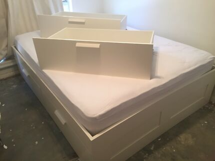 Ikea brimnes queen bed base with 4 storage drawers