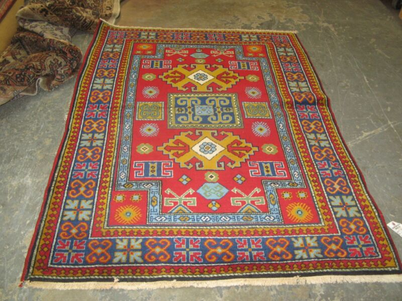 Vintage Russian Red Kazak Rug 3