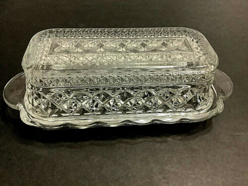 Vintage Anchor Hocking Butter Dish with Lid Wexford Pattern Clear Glass 1/4 lb
