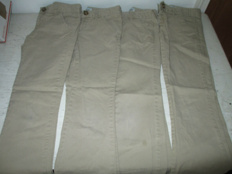 Lot of 4, Girls Old Navy, Khaki Uniform Pants, 8 Regular, See Details