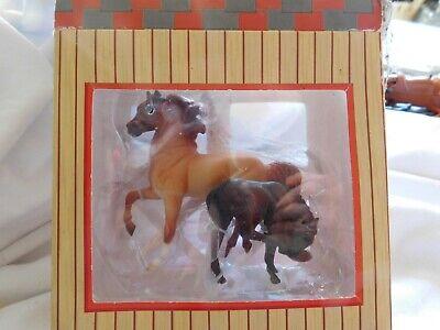 Vintage Breyer mare and black colt,,,in paper stall, barn