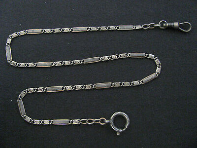 ANTIQUE SOLID SILVER NIELLO POCKET WATCH CHAIN