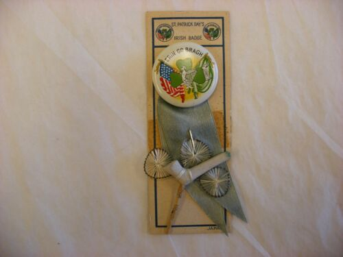 "Antique Vtg St Patricks Day - Irish Badge ""Erin Go Bragh"" Japan Pin Back Button"