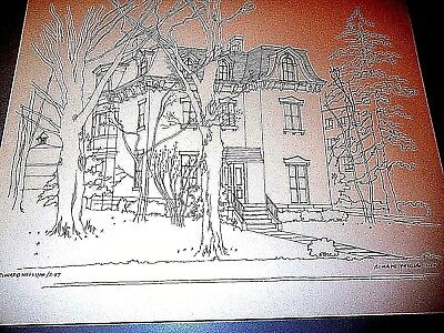 Richard Welling Hartford CT NEW ENGLAND HOME Signed ART INK Print  1987 RARE