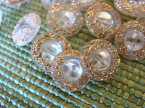 Antique GLASS BUTTONS w GOLD Two Sizes Lot of 39