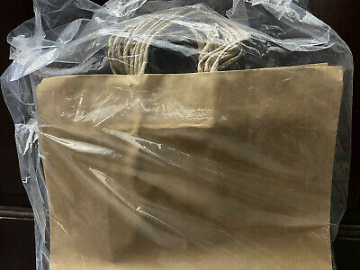 Natural Kraft Paper Shopping Bags With Handles 16l X 6d X 12 H Case Of 100