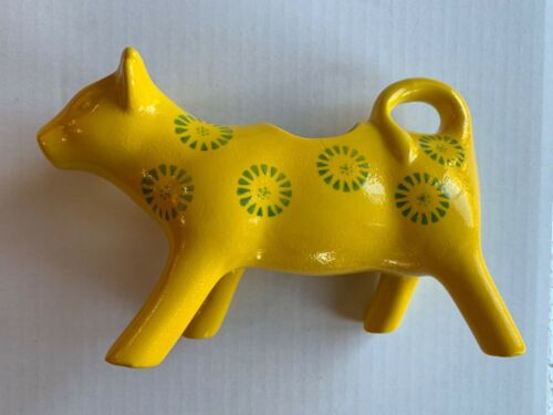 Yellow Ceramic 🐄  Cow Creamer 🐄 with green circular pattern design