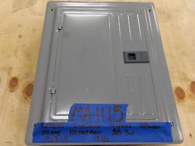 New Siemens 100 Amp Loadcenter 12 Space Main Breaker 1 Phase Single 240v120v