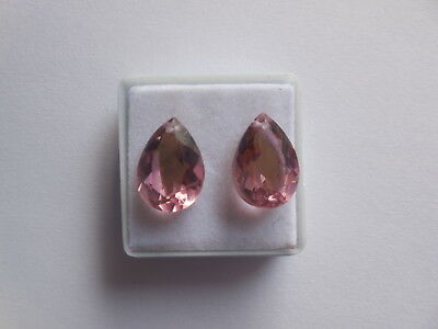 Hydro Morganite Pink Quartz Front To Back Drilled Pear Beads Cut Faceted 2Pcs Cut Faceted Pear