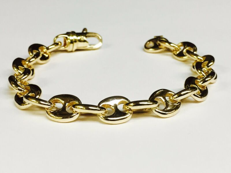 14kt Solid Gold Anchor Mariner Chain/bracelet 10 Mm 45 Grams  10""