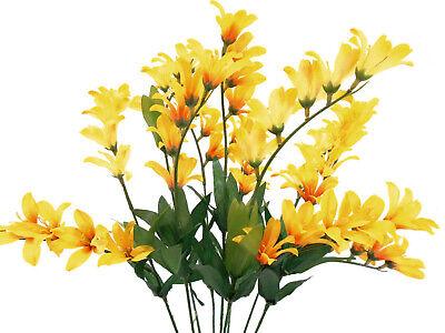 Yellow Freesia Bush 9 Artificial Silk Flowers 21