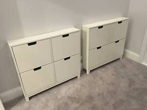 x2 IKEA STALL Shoe Cabinets White Drawers Balmain Leichhardt Area Preview
