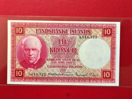 1928 LANDSBANKI ISLANDS 10 KRONUR OLD BANKNOTE @ XF + UP ( LOW PRICE )