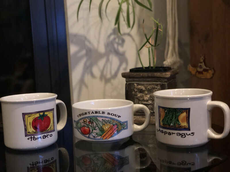 VINTAGE Vegetable 'Tomato' 'Asparagus' 'Vegtable soup' retro design mugs 3 pcs.