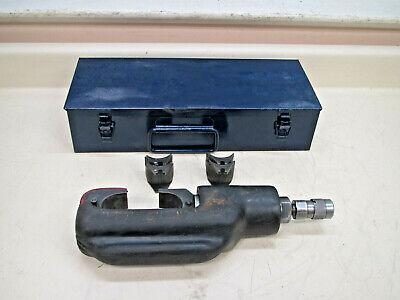 Burndy Y46 Hypress Remote Hydraulic Crimping Head W Case Two Die Sets Used