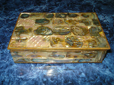 Vintage Rectangular Abalone & Mother of Pearl Box From Mexico