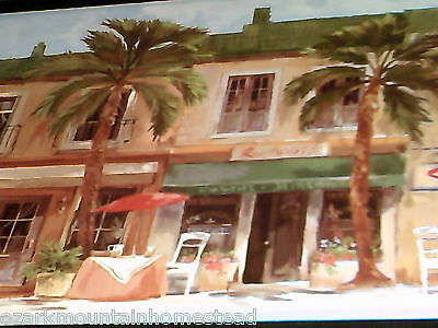 (Tropical Street Scene wall decor sign palms plaque orange green picture )