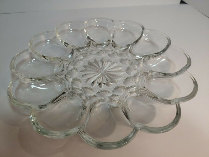 """Vintage Clear Glass 10"""" Deviled Egg Plate or Oyster Tray Dish Dozen"""