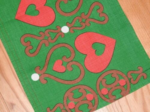 Vintage Swedish Christmas Table Runner  - Green with red Hearts (or Drape)