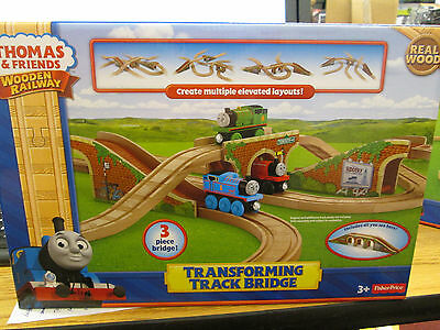 THOMAS & FRIENDS WOODEN TRANSFORMING TRACK BRIDGE NEW