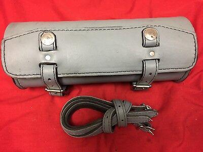 Large Harley Leather Handlebar Sissy Bar Bag Saddlebag Fork Roll Barrel Bag