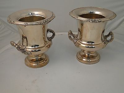 WINE COOLERS SILVER PLATED ANTIQUE OLD SHEFFIELD 1850, CAST BORDER & HANDLES,
