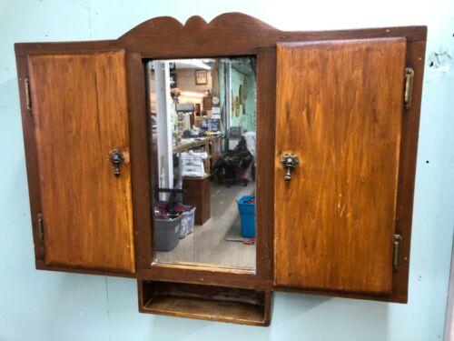 Beautiful Vintage Wood Bathroom Medicine Vanity Cabinet  With Mirror with doors