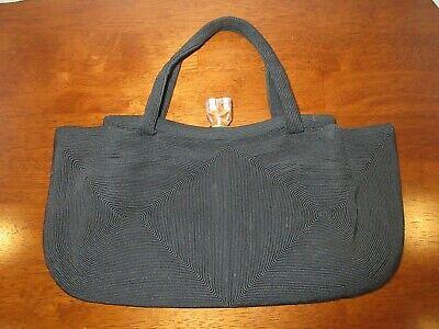 1930s Handbags and Purses Fashion Vintage 1930s Large Black Corde' Handbag With Lucite Knob Closure $19.99 AT vintagedancer.com