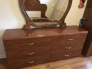 Queen Bed with dresser and mirror , End table