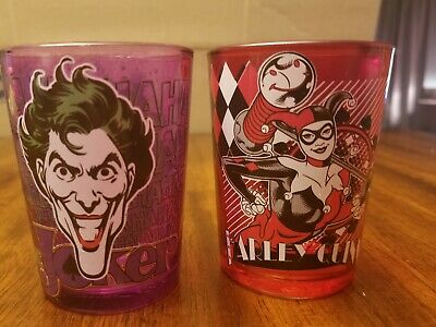 Harley Quinn Glasses (The Joker and Harley Quinn Batman 8 OZ Glasses Tumblers DC Comics)