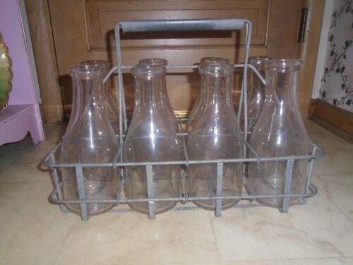 Vintage Metal Milk Bottle Carrier Holds with 8 Quart Size Bottles