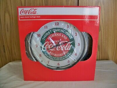 "(E) COCA COLA THIRST QUENCHING Logo 15"" Neon Wall Clock Glass Face"