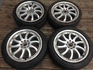 """17"""" silver rim/tire lipped set (staggered), $400 4x100, 4x114.3"""