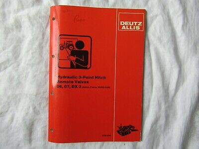 Deutz Allis Dx Hydraulic 3-point Hitch Remote Valves Service Training Manual