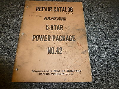 Minneapolis Moline 5 Star Power Unit Package No 42 Parts Catalog Manual Book