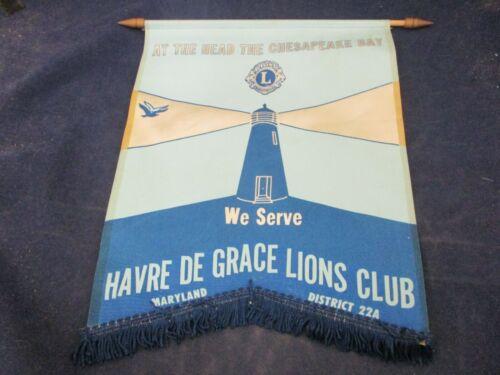 Vintage Lions Club Banner Flag Maryland Chesapeake Bay Havre De Grace Dist. 22A