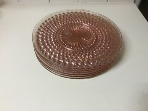 "6 Anchor Hocking Pink Hobnail Depression Glass Plates 8.5"" Lunch Dessert Salad"