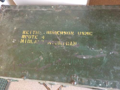 "Old US WW2 era USMC Marines Foot Locker Trunk & Tray, 30.5"" long"