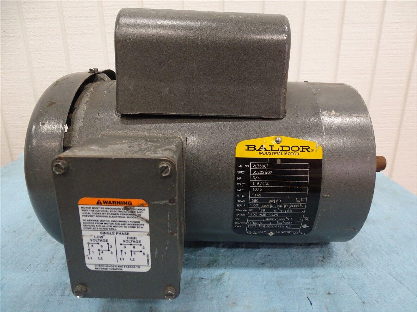 Baldor VL3508 Motor 3/4HP 1140RPM 1PH 115/230VAC 10/5A 56C
