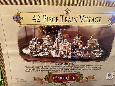 Grandeur Noel 42-pc Train Village 2001 Complete Set Tested Train And Working EUC