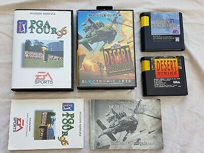 Desert strike & PGA Tour 96 golf megadrive boxed box with instructions EA Sports, used for sale  Shipping to Nigeria