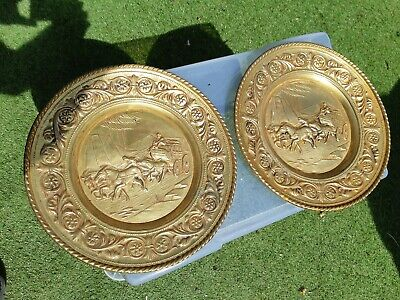 2x 12 INCHES ARTS & CRAFTS BRASS HORSE & CARRIAGE WALL PLATES             R21