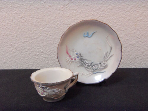 vintage mid century Asian light grey dragonware cup and saucer